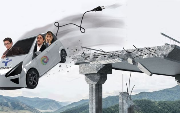 Las autoridades que dieron aval al anuncio de la megafábrica de autos eléctricos: Héctor Rodríguez, exgerente de Yachay EP; René Ramírez, extitular de Senescyt, y el expresidente Rafael Correa.