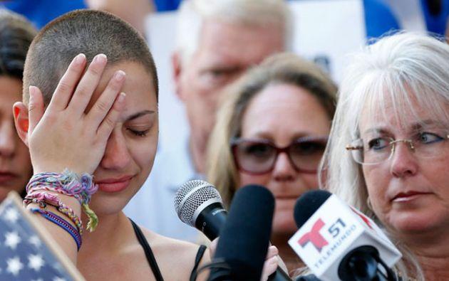 """""""¡Qué vergüenza!"""" gritan contra Trump en acto contra las armas en EEUU. Foto: AFP"""
