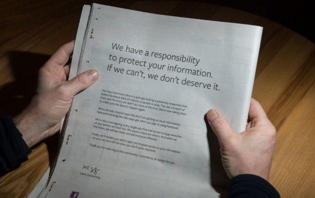 Zuckerberg pide perdón a los británicos por la filtración  de datos. Foto: AFP
