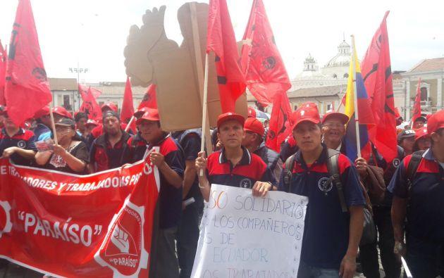 Movilizaciones en las principales ciudades de Ecuador pidieron hoy, con motivo del Día Internacional del Trabajo, la protección de los derechos de los trabajadores.