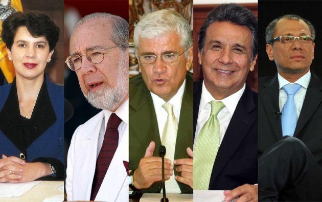 De izquierda a derecha. Rosalía Arteaga, Gustavo Noboa, Alfredo Palacio, Lenín Moreno y Jorge Glas. Foto: Collage Vistazo