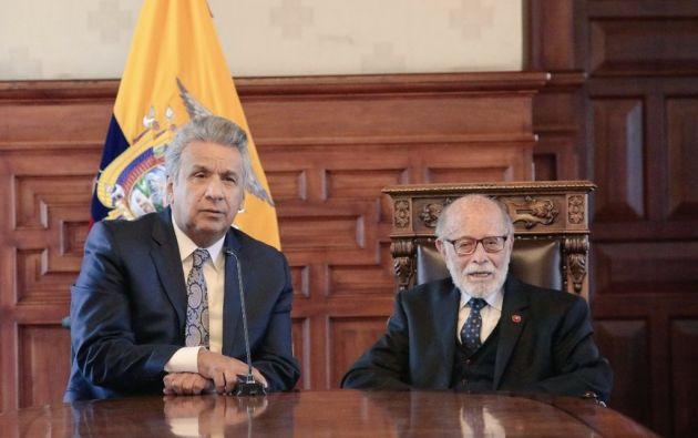 """""""Es importante que los ecuatorianos conozcan que para esto tal vez sea necesario un cambio constitucional"""", dijo Moreno. Foto: Twitter @CPCCS"""
