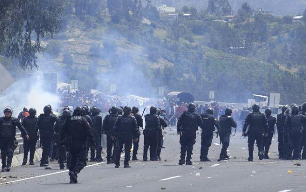 """Conaie denuncia """"fuerte represión"""" policial a la movilización en Cotopaxi. Foto: @CONAIE_Ecuador"""