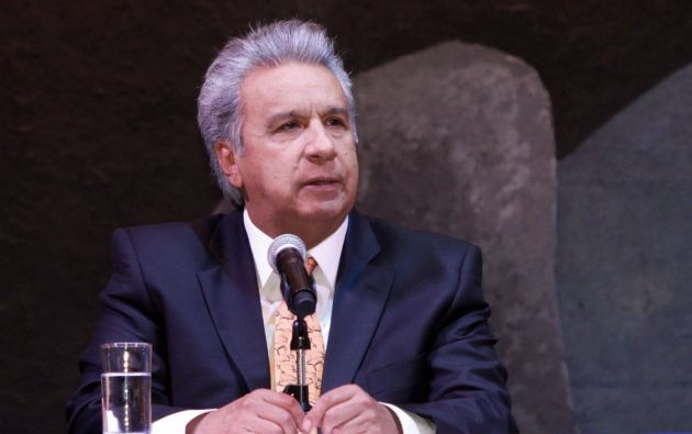 """""""El trabajo profesional de la prensa siempre se impondrá sobre las noticias falsas"""", dijo Moreno. Foto: Twitter @ComunicacionEc"""