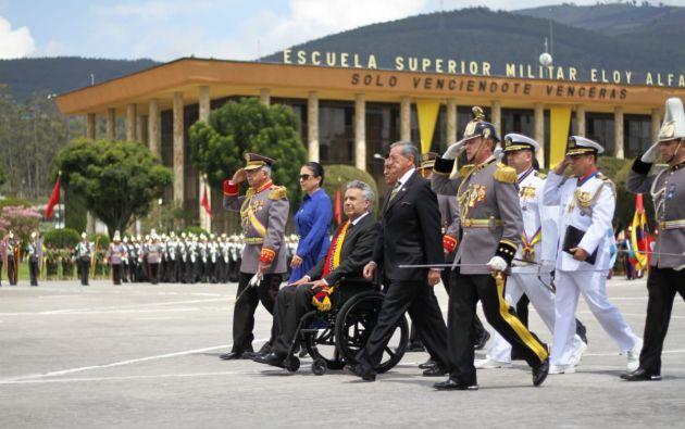 El presidente Lenín Moreno participó este miércoles 27 de febrero de una ceremonia militar por el Día del Ejército. Foto: Presidencia.