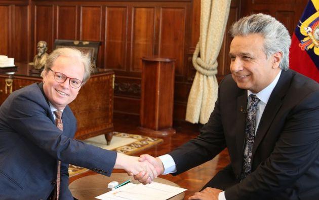 Moreno se reunió con Axel Van Trotsenburg, nuevo viceperesidente del Banco Mundial para América Latina y el Caribe, el 6 de marzo de 2019. Foto: Presidencia