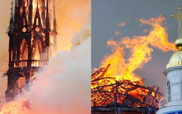 El incendio de Notre Dame, junto al incendio de la catedral de la Santísima Trinidad en San Petersburgo en el año 2006.