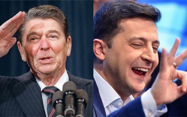 Ronald Reagan y Volodimir Zelenski. Fotos: AFP