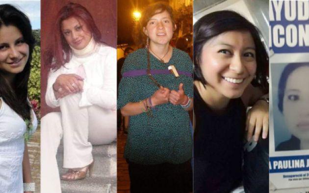 Desaparecidas: Juliana Campoverde, María Fernanda Guerrero, Carolina Garzón, Nathaly Salazar y Gabriela Jaque.