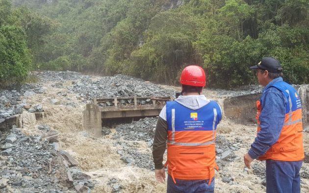 El Triunfo y Vizcaya aislados por lluvias en Tungurahua. Foto: Obras Públicas Ecuador