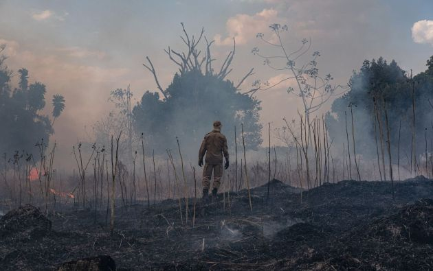 Las intensas lluvias han facilitado la labor humana, sin embargo hay llamas en diversos puntos aislados. Foto: AFP.