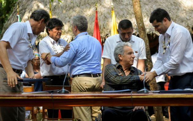 Los mandatarios y representantes de Colombia, Perú, Ecuador, Bolivia, Brasil, Guyana y Surinam clausuraron la Cumbre Presidencial. Foto: AFP