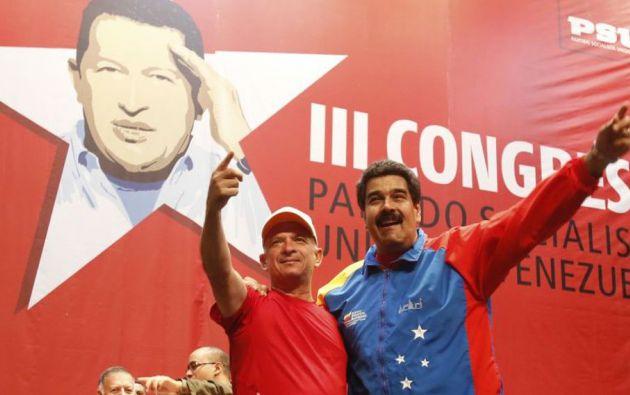 El exjefe de inteligencia del régimen chavista junto a Nicolás Maduro. Foto: Reuters.