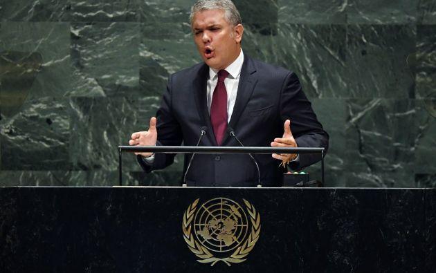 En la Asamblea General de la ONU, Duque urgió el miércoles al organismo internacional a tomar acciones sobre el apoyo de Caracas a grupos armados. Foto: AFP