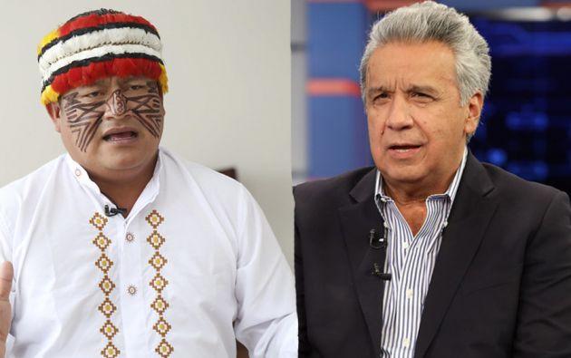 Jaime Vargas, presidente de la Conaie, y el presidente Lenín Moreno buscarán soluciones a través del diálogo.