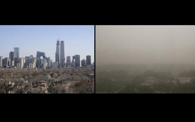 Pekín en un día soleado y durante una tormenta de polvo