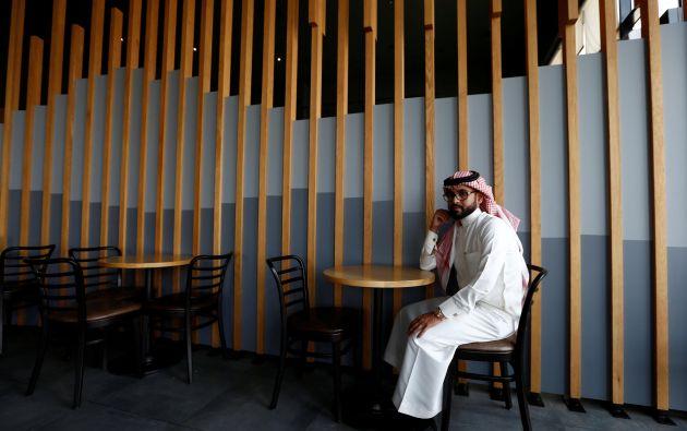 """Nayef al-Hayzan, de 28 años.  """"Yo esperaría que la visita de Trump tendrá un impacto positivo en la economía de Arabia, y se espera que las discusiones para hacer frente a los problemas de Siria"""""""
