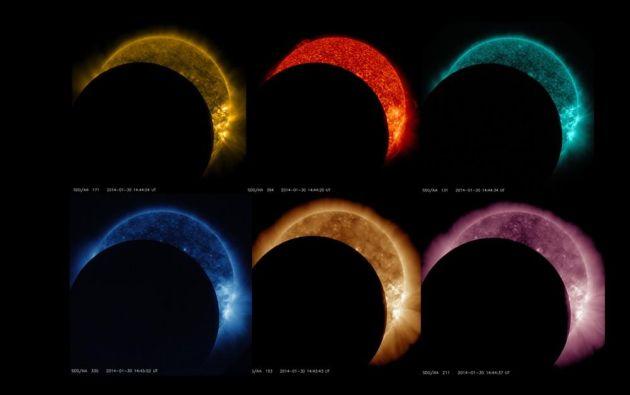 El eclipse lunar en 6 longitudes de onda // Observatorio de dinámica solar de la NASA // 2014