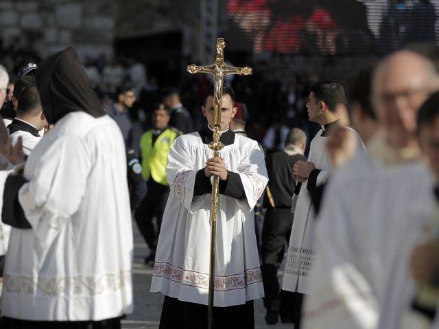 Misa en Palestina. Foto: AFP