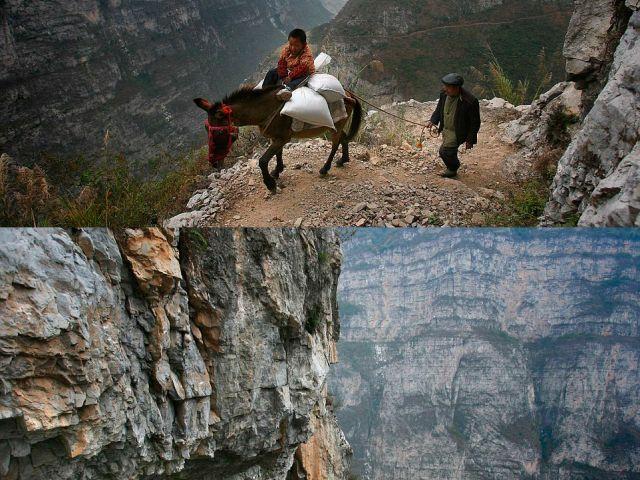 Este niño y su abuelo tienen que bordear este estrecho rocoso durante el camino a una escuela primaria en la provincia de Sichuan, China. La escuela del pueblo de Gulu se encuentra a medio camino de la montaña y es el más remoto del mundo. Foto: Sipa Press/ Rex