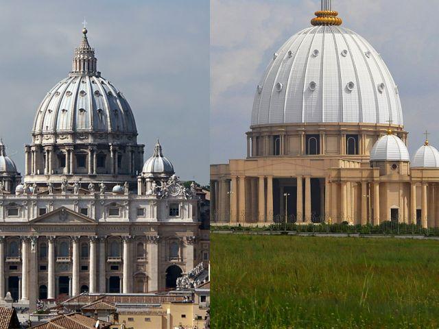 Basílica de San Pedro del Vaticano es la iglesia más visitada del mundo. Es cierto, pero en términos de tamaño la supera la Basílica de Nuestra Señora de la Paz, en Yamusukro, Costa de Márfil que ocupa una superficie de 30.000 metros cuadrados.