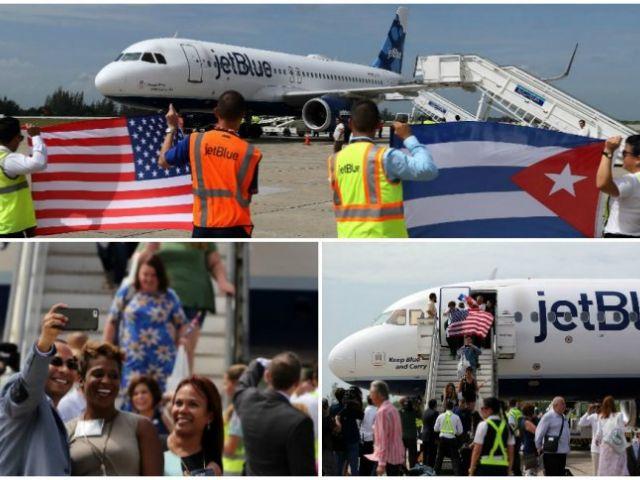 Se trata del vuelo 387 de la aerolínea estadounidense JetBlue, que despegó desde la localidad de Fort Lauderdale (Florida) con turistas, periodistas y autoridades a bordo, entre ellos el secretario de Transporte de EE.UU., Anthony Foxx. La llegada del avión marca un nuevo hito en el proceso de deshielo entre los dos países, que anunciaron la normalización de sus relaciones en diciembre de 2014 tras cinco décadas de acérrima enemistad.