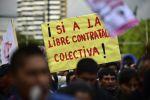 La protesta fue en rechazo a proyectos del ejecutivo. Foto: AFP