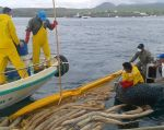 Guardaparques trabajan para recoger sustancias vertidas por el encallamiento. Foto: Twitter / Parque Nacional Galápagos