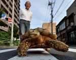 "Hisao Mitani y su mascota ""Bon-chan"". Foto: AFP"
