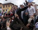 La movilización del grupo político avanzó hasta la sede de la Asamblea Nacional, en Quito. Fotos: API