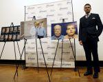 El médico cubano-estadounidense Eduardo Rodríguez, posa junto a fotografías del paciente tras una conferencia de prensa. Foto: REUTERS.