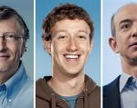 Bill Gates (Microsoft), Mark Zuckerberg (Facebook) y Jeff Bezos (Amazon).