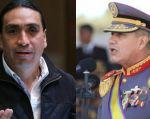 El oficial Luis Castro (d) exige a Virgilio Hernández disculpas públicas por expresiones irrespetuosas. Fotos: Ecuavisa.