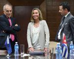 Federica Mogherini durante una reunión con el ministro cubano de Comercio Exterior e Inversión, Rodrigo Malmierca. Foto: Reuters