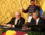 """""""El objetivo de mi viaje es estrechar relaciones entre Alemania y Ecuador"""", dijo Steinmeier. Foto: @ComunicacionEc"""