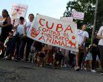 Cientos de cubanos marcharon este domingo por céntricas calles de La Habana para exigir el fin del maltrato animal y la aprobación de una Ley sobre el tema. Foto: Reuters.