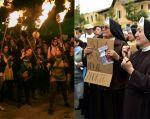 Grupos a favor y en contra de la despenalización del aborto manifestaron en las afueras del Legislativo. Fotos: AFP