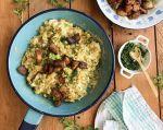 El trigrillo es un plato cocinado con plátano verde, huevos criollos, queso amasado, sal, aceite, cebolla paiteña y cilantro picado. Foto: Pilar Woloszyn (Confieso que Cocino).