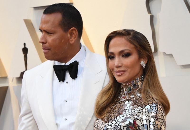 Foto de JLo y Alex Rodríguez durante la entrega del Óscar en el 2019.