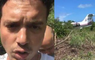 La aeronave en la que el cantante volvía de sus vacaciones, junto con su familia, quedó en medio de una zona boscosa.