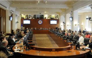 Hoy se reunió un consejo de la OEA para escuchar a la Canciller de Venezuela, Delcy Rodríguez. Foto: OEA