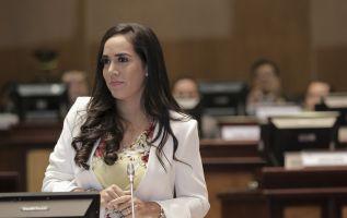 """""""Todo este atropello a la Constitución se está dando mientras hago uso de mi licencia por maternidad"""", dijo Bonilla. Foto: Asamblea"""