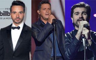 Luis Fonsi, Alejandro Sanz y Juanes. Fotos: AFP