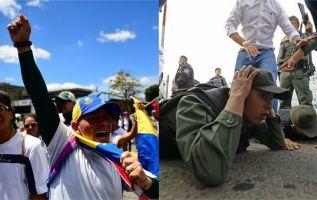 Dos soldados venezolanos yacen en el suelo mientras son detenidos por la policía colombiana. Fotos: AFP
