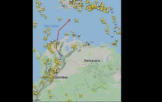 23 de febrero de 2019 a las 10h15, aeronaves evitan volar sobre el espacio aéreo venezolano. Imagen: Flightradar24
