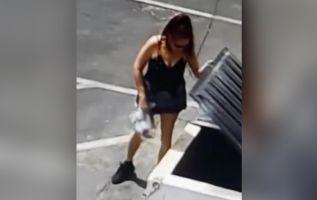 Autoridades de California buscan a esta mujer que tiró 7 cachorros vivos a un basurero. Foto: Control Animal del Condado de Riverside).