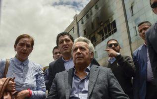 """El presidente, Lenín Moreno, hizo este anuncio durante una visita que efectuó hoy a la llamada """"zona cero"""". Foto: AFP"""