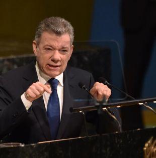 """El premio Nobel de la Paz 2016 defendió """"el principio de la corresponsabilidad"""" en la guerra antidrogas. Foto: AFP"""