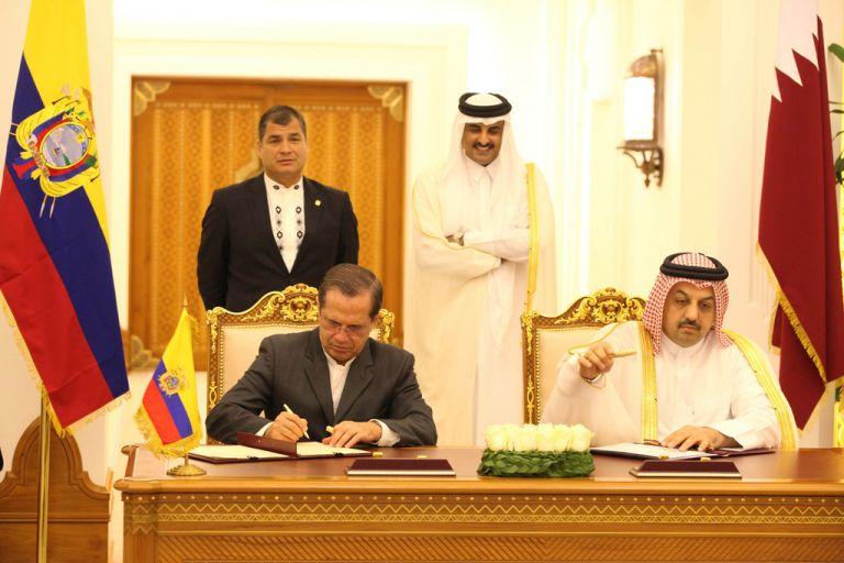 Firma de acuerdos entre Ecuador y Catar. Foto: FLICKR/Presidencia de Ecuador
