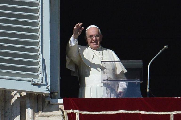 El papa durante el rezo del Ángelus dominical. Foto: AFP